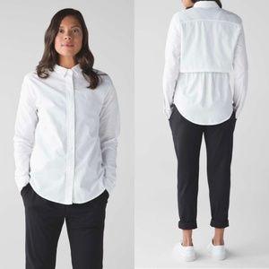 Lululemon Getaway Shirt White Size 4 NWT